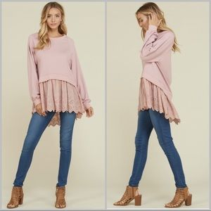 High-Low Dolman Top with Lace Detail